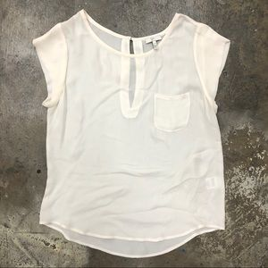 Joie Cream White Top Silk Sheer Chest Pocket M